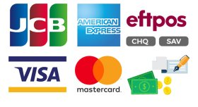 We Accept Eftpos, Visa, Mastercard, Cash, Cheques
